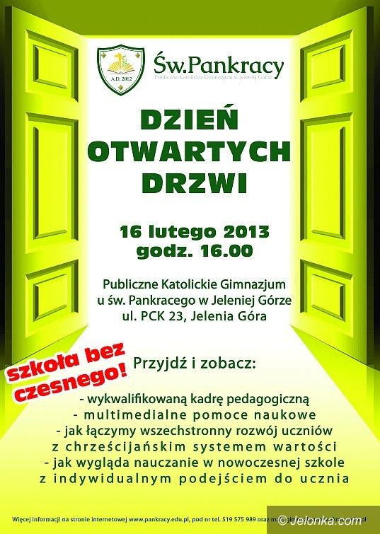 Jelenia Góra: Katolickie Gimnazjum w Jeleniej Górze zaprasza na Dzień Otwartych Drzwi!