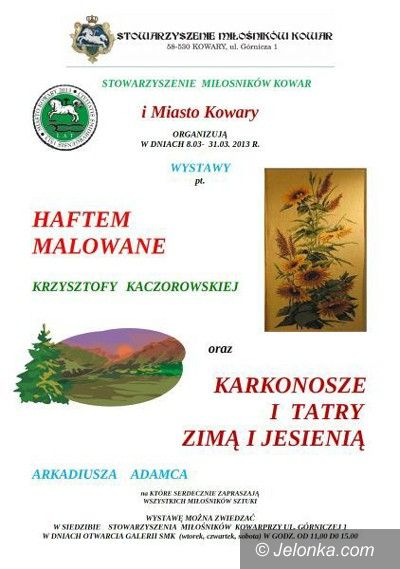 Region: Haftem malowane i góry na fotografii w kowarskim Domu Tradycji