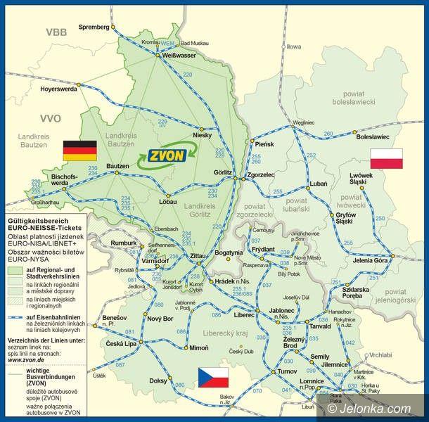 Region: Gdzie honorowany jest bilet EURO–NYSA?