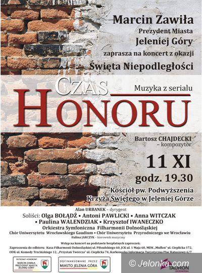 """Jelenia Góra: Koncert """"Muzyka z serialu Czas Honoru""""  w Święto Niepodległości"""