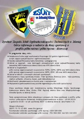 Jelenia Góra: We wtorek testy do klasy sportowej w ZSOiT
