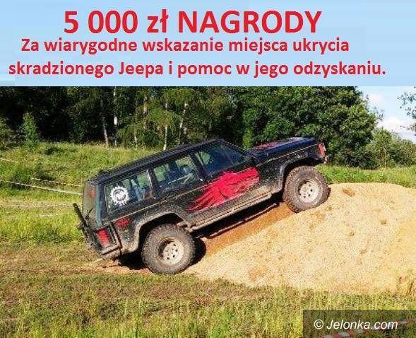 Region: Wysoka nagroda za pomoc w odnalezieniu jeepa