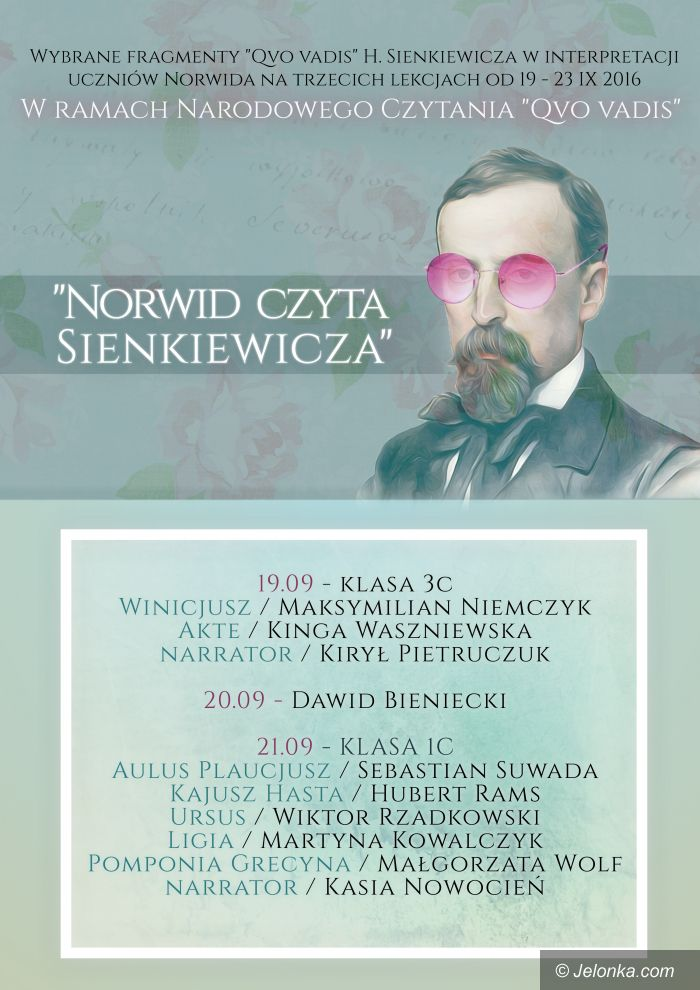 """Jelenia Góra: """"Norwid"""" czyta Sienkiewicza"""