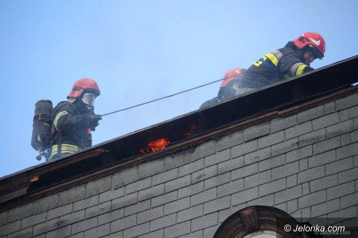 Jelenia Góra: Pożar na poddaszu w centrum miasta