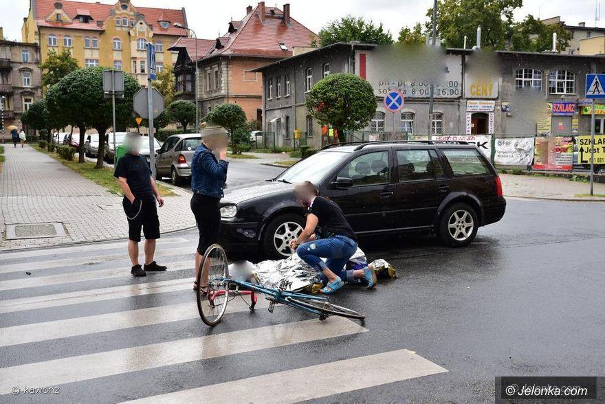 Jelenia Góra: Potrącenie rowerzysty