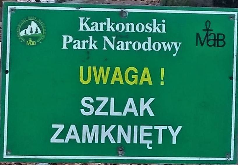 Region: Szlaki w Karkonoszach zamknięte