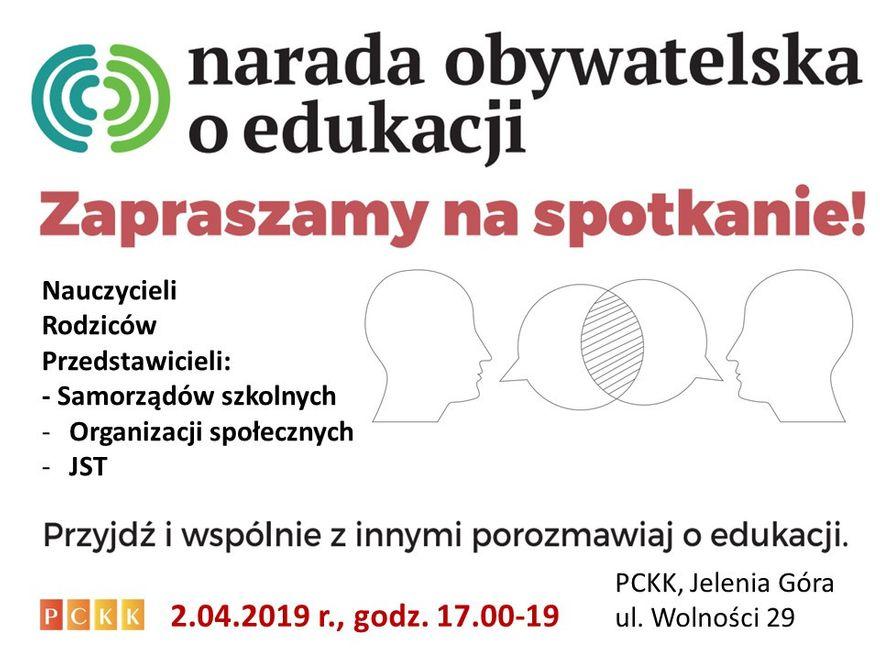 Jelenia Góra: Narada Obywatelska o Edukacji – jutro