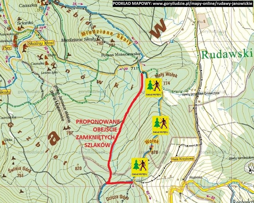 Region: Zamknięte szlaki w Rudawach Janowickich