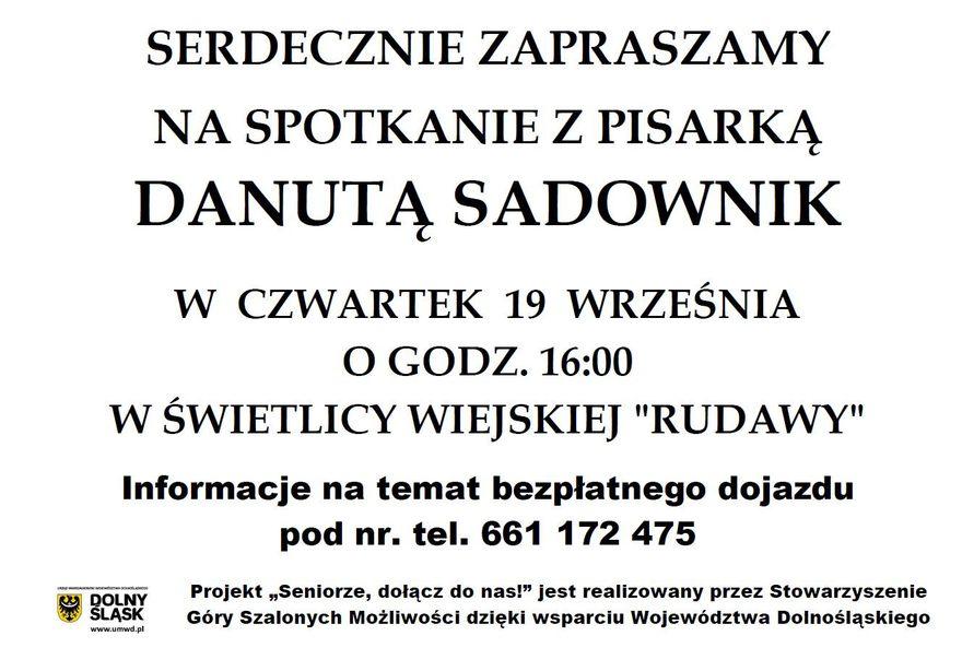 Janowice Wielkie: Spotkanie autorskie z Danutą Sadownik
