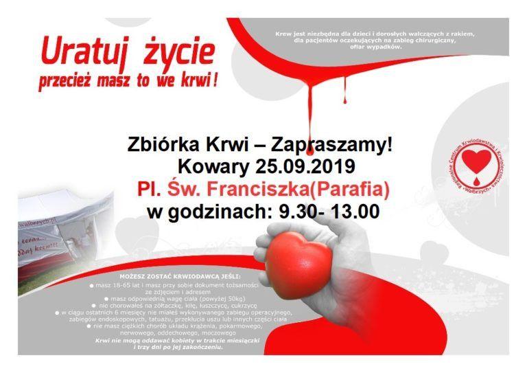 Kowary: Zbiórka krwi w Kowarach