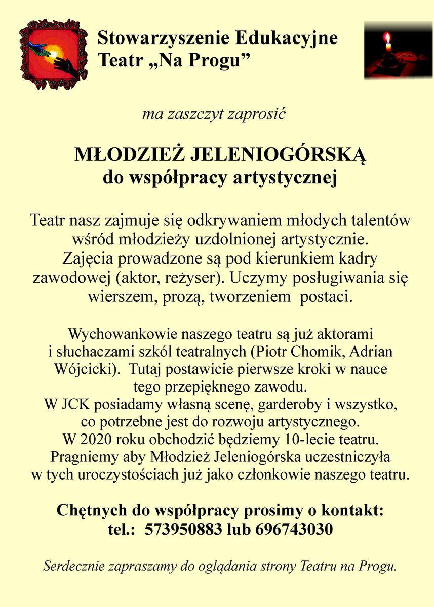 """Jelenia Góra: Dołącz do Teatru """"Na Progu"""""""