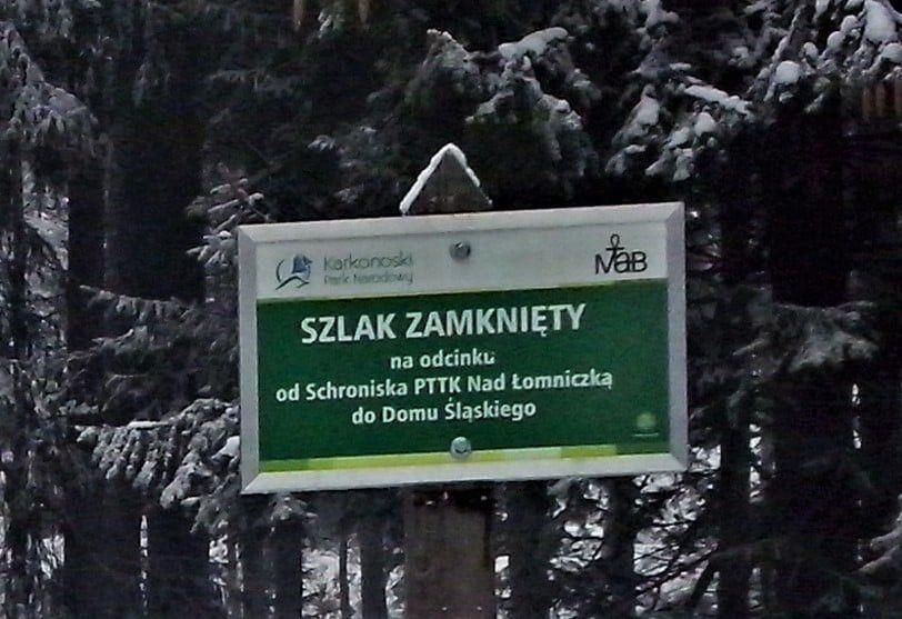 Karkonosze: Zamknięty szlak przez Kocioł Łomniczki
