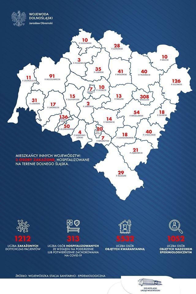 Region: 186 osób zakażonych w Kotlinie Jeleniogórskiej