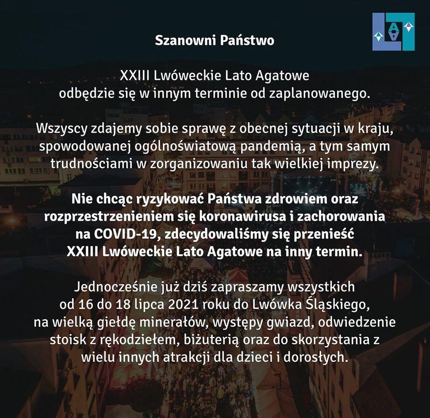 Lwówek Śląski: Zmiana terminu XXIII Lwóweckiego Lata Agatowego