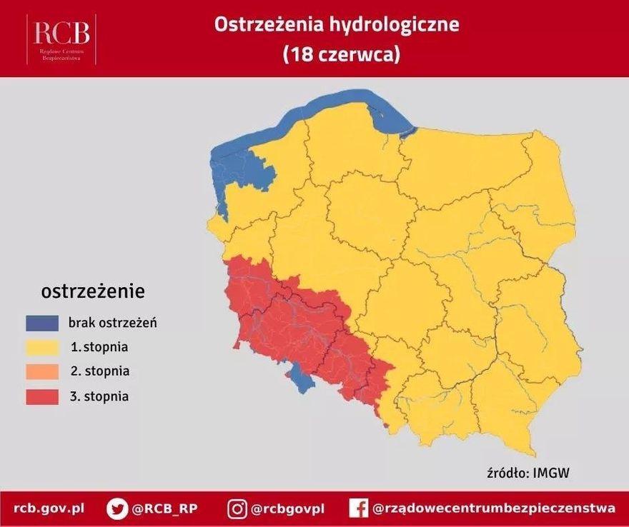 Polska: Ostrzeżenia hydrologiczne