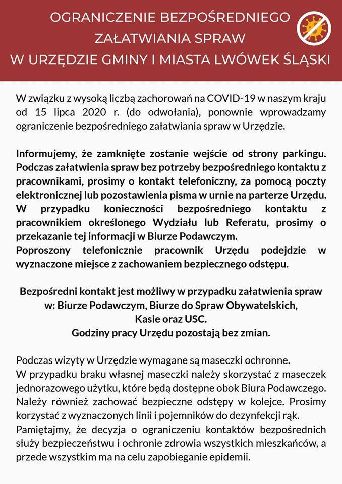 Lwówek Śląski: W lwóweckim magistracie z ograniczeniami