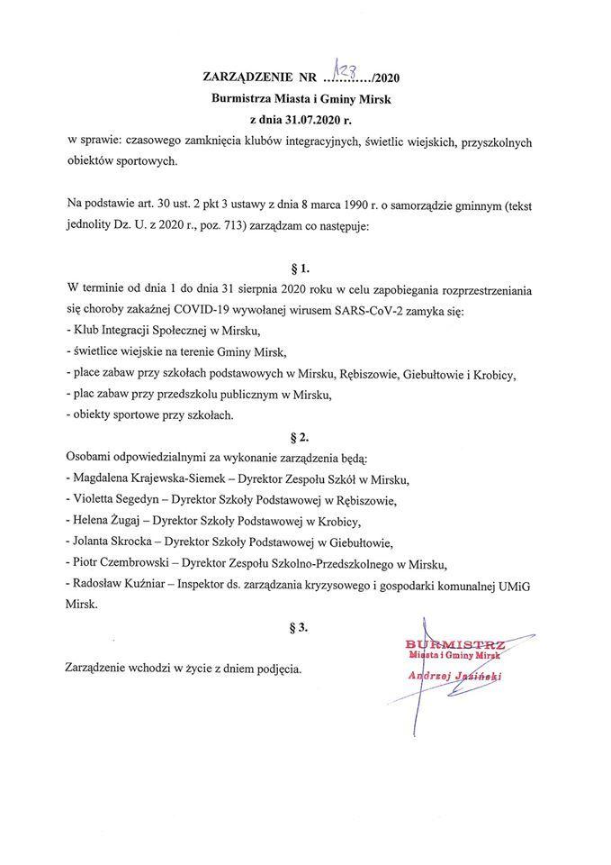 Mirsk: Miejsca spotkań (na razie) zamknięte