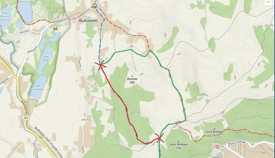 Bukowiec: Zamknięty szlak w Bukowcu
