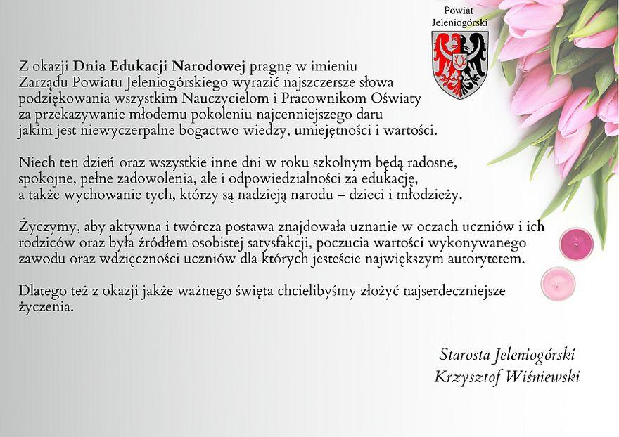 Powiat: Życzenia Starosty Jeleniogórskiego
