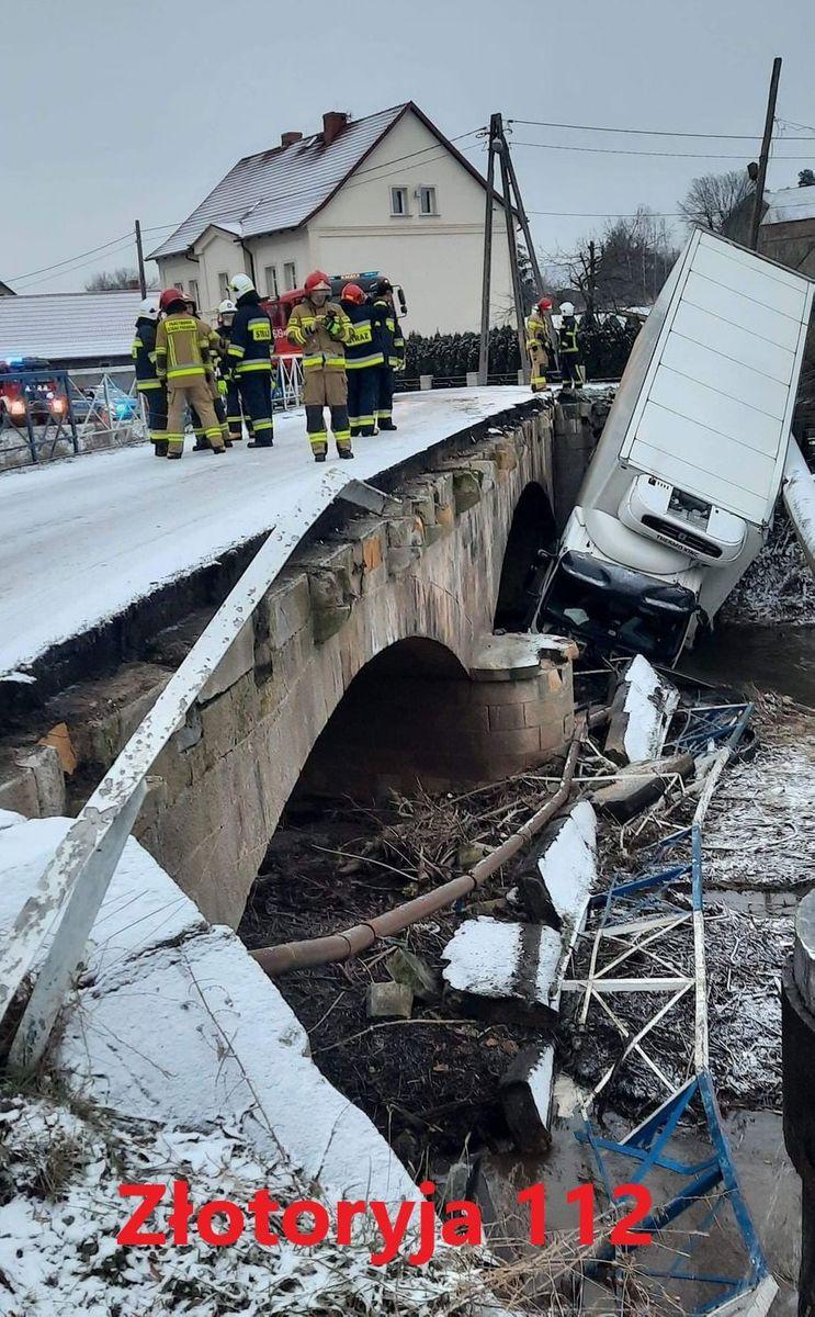 Zagrodno: Ciężarówka wpadła do rzeki