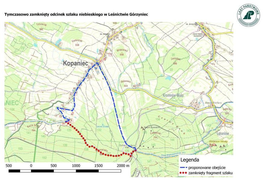 Kopaniec: Zamknięty szlak przy Kopańcu