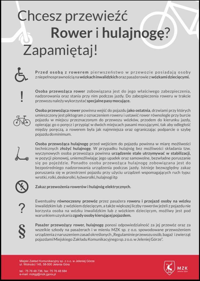 Jelenia Góra: MZK:Nowy regulamin przewozu osób, bagażu i zwierząt (komunikat)