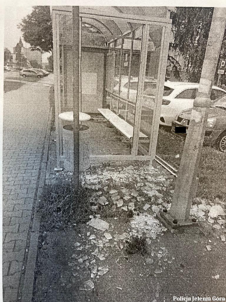 Jelenia Góra: Zniszczył wiatę przystankową