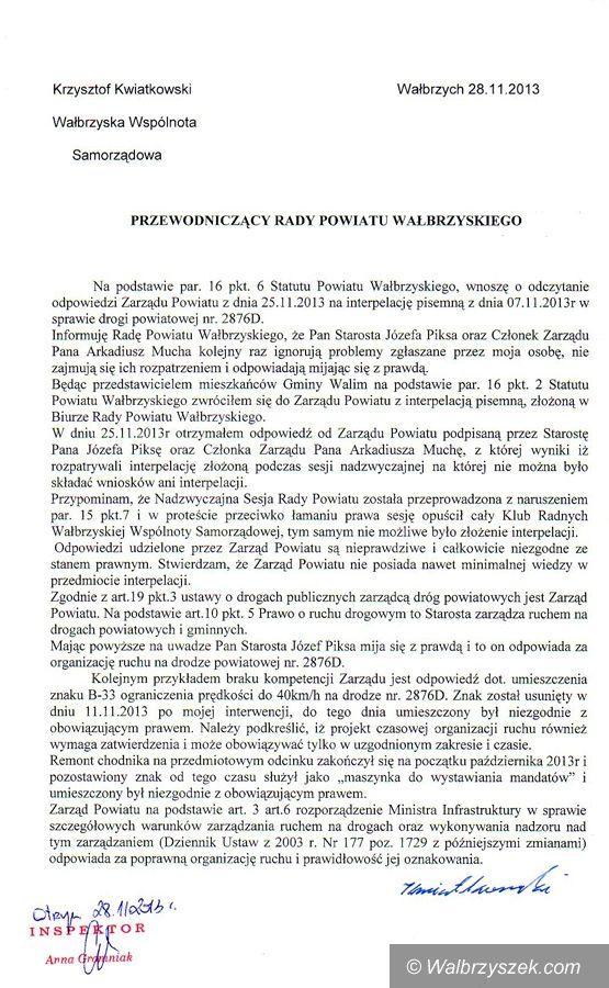 powiat wałbrzyski: Krzysztof Kwiatkowski odpowiada przewodniczącemu Detynie