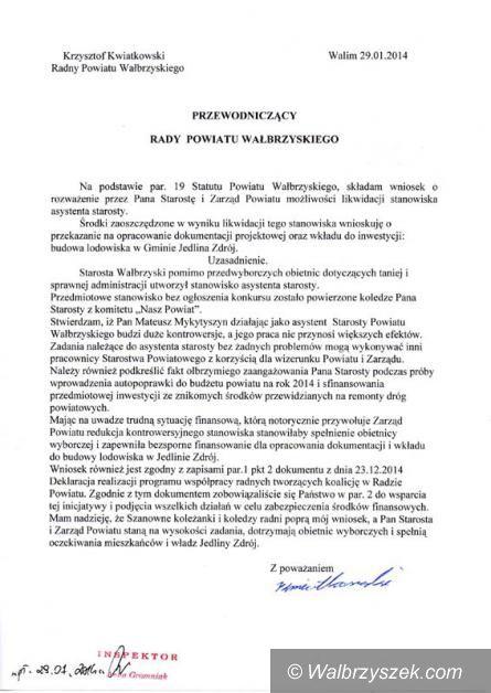 powiat wałbrzyski: Radny Kwiatkowski uważa, że staroście niepotrzebny jest asystent