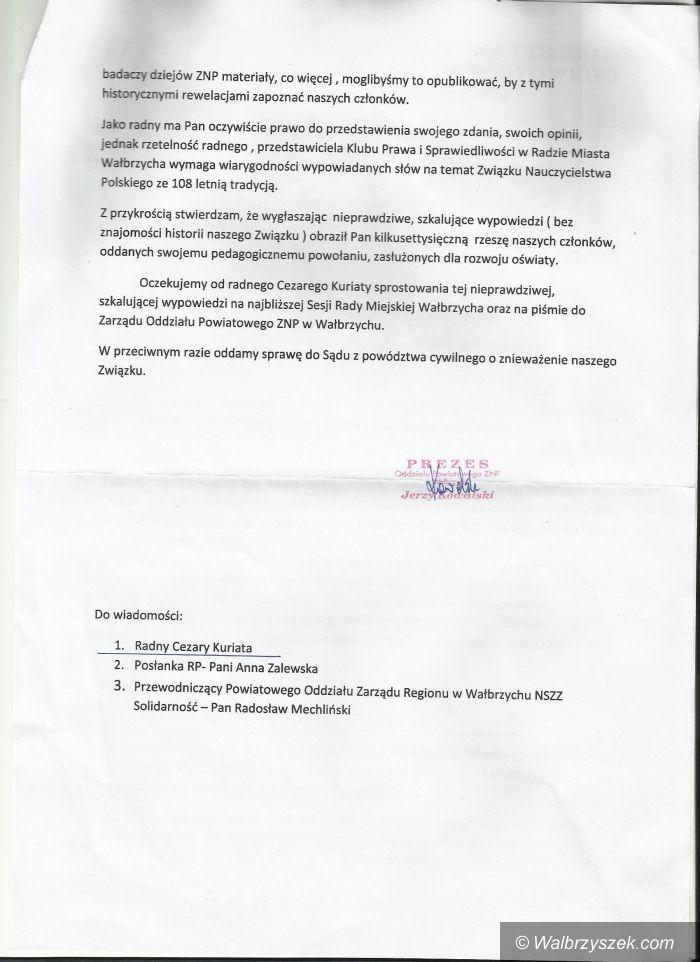Wałbrzych: Radny Kuriata kontra ZNP