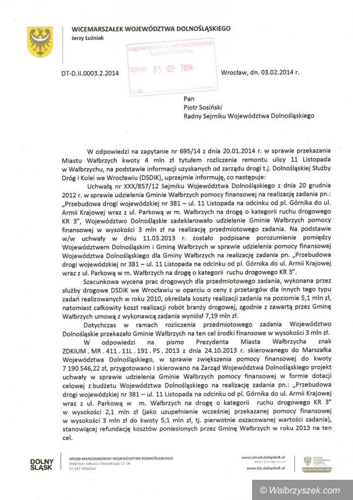 Wałbrzych: Piotr Sosiński interpelował w sprawie remontu ulicy 11 Listopada