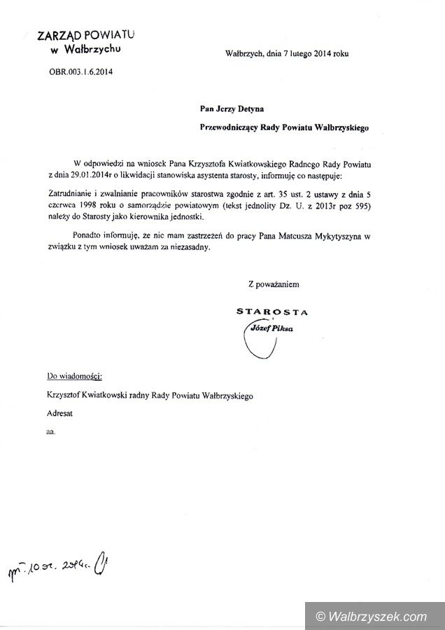 powiat wałbrzyski: Starosta nie ma zastrzeżeń do pracy swojego asystenta