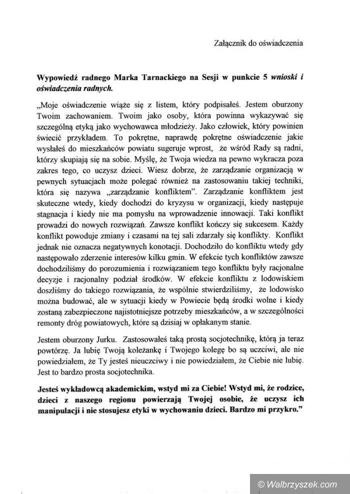 powiat wałbrzyski: Przewodniczący Detyna domaga się przeprosin