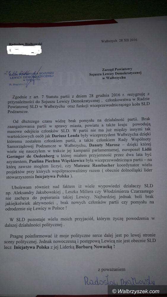 Wałbrzych: Białkowski też opuszcza SLD