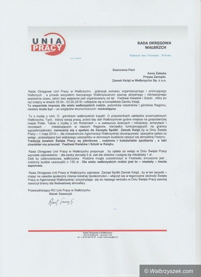 Wałbrzych: Unia Pracy chce w szczególny sposób uczcić święto ludzi pracy