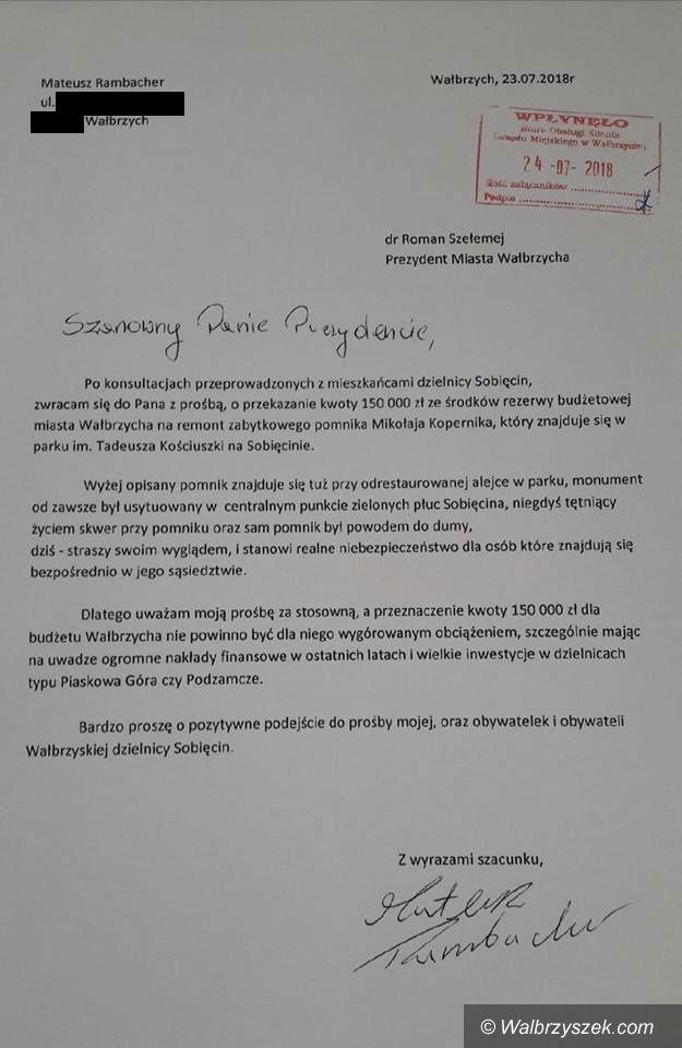 Wałbrzych: Inicjatywa Polska wnioskuje do prezydenta o remont pomnika Mikołaja Kopernika w dzielnicy Sobięcin
