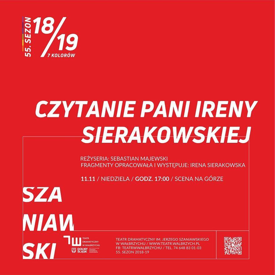 """Wałbrzych: """"Czytanie Ireny Sierakowskiej"""""""