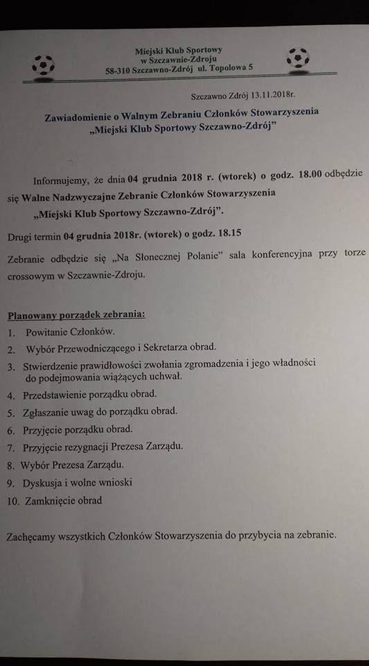 REGION, Szczawno-Zdrój: Prezes MKS–u rezygnuje z funkcji