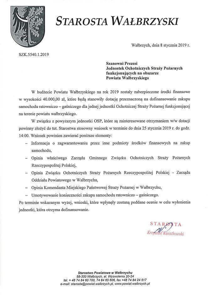 powiat wałbrzyski: Jednostki OSP mogą ubiegać się o dofinansowanie z powiatu