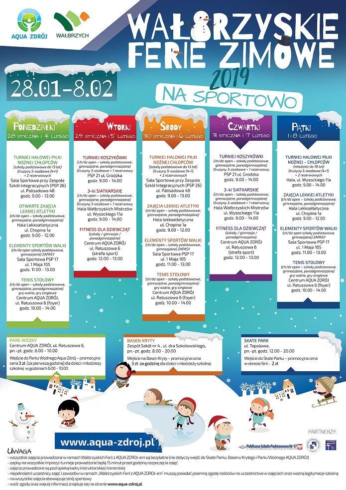 Wałbrzych: Zapraszamy dzieci i młodzież do uczestnictwa w Wałbrzyskich Feriach Zimowych na sportowo!