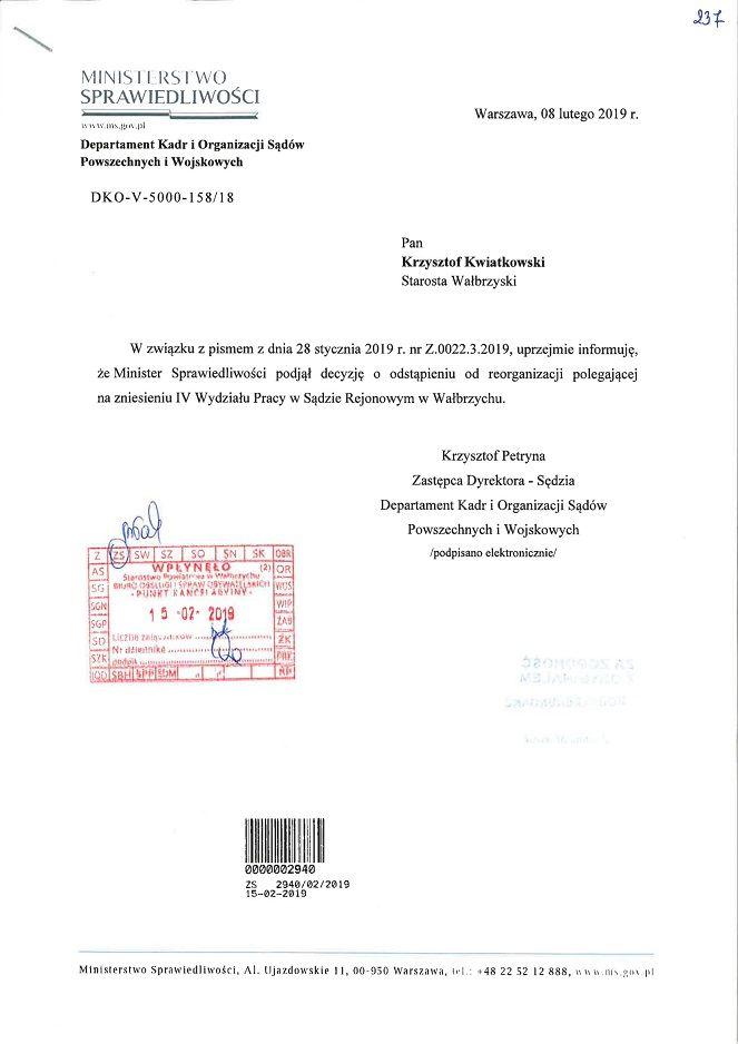 Wałbrzych/powiat wałbrzyski: W Wałbrzychu nadal będzie funkcjonował Sąd Pracy