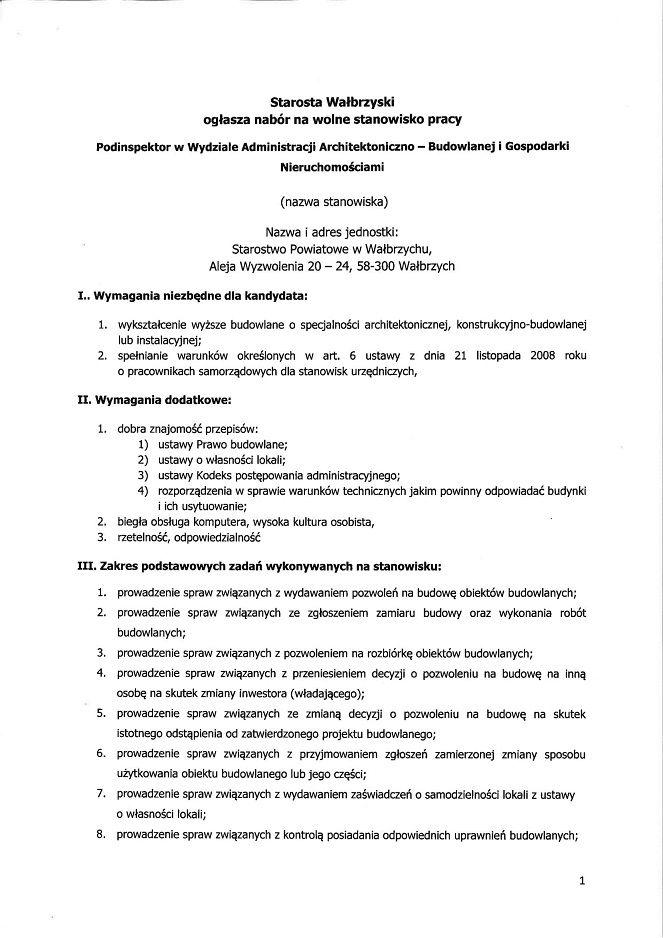 powiat wałbrzyski: Poszukują kandydatów na wolne stanowiska pracy