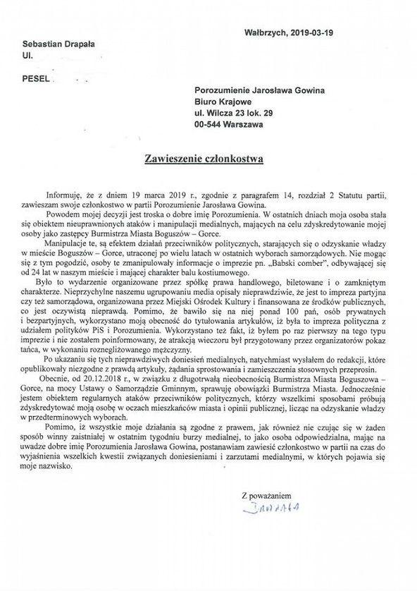 REGION, Boguszów-Gorce: Zastępca burmistrza Boguszowa–Gorc zawiesza członkostwo w partii Porozumienie