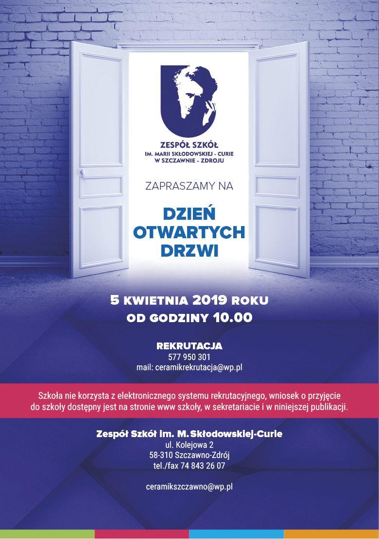 REGION, Szczawno-Zdrój: Jutro Dzień Otwarty w Zespole Szkół im. Marii Skłodowskiej–Curie w Szczawnie–Zdroju