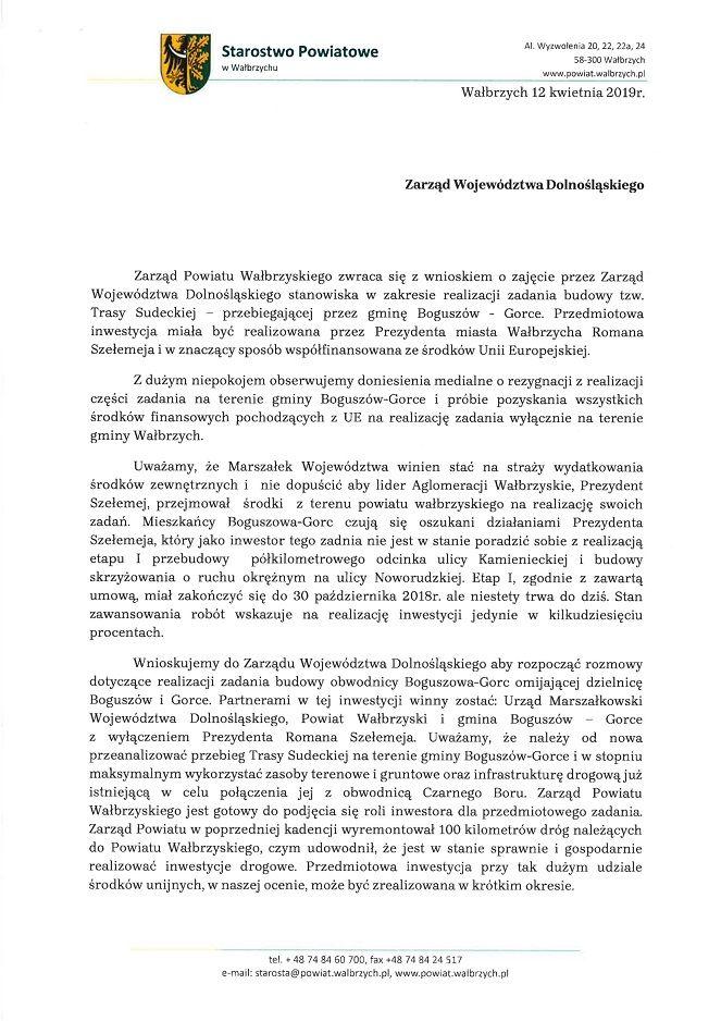 powiat wałbrzyski: Zarząd Powiatu zaniepokojony doniesieniami o zagrożeniu dla budowy obwodnicy Boguszowa–Gorc