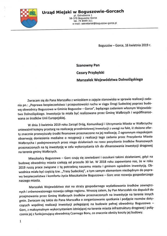 REGION, Boguszów-Gorce: Samorządowcy z Boguszowa–Gorc zaniepokojeni doniesieniami o zaniechaniu budowy obwodnicy miasta