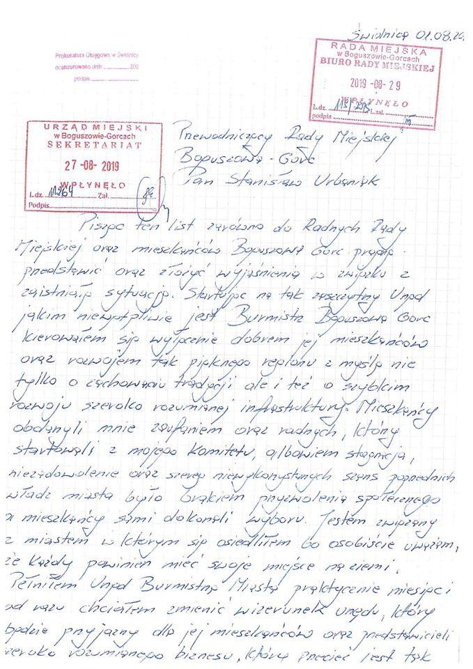 REGION, Boguszów-Gorce: Aresztowany burmistrz pisze do mieszkańców