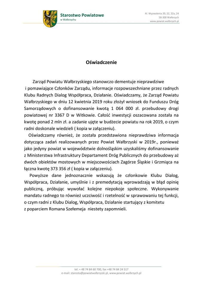 powiat wałbrzyski: Oświadczenie Zarządu Powiatu