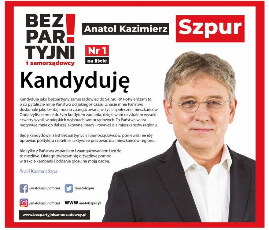 Wałbrzych/REGION: Anatol Szpur jedynką Bezpartyjnych i Samorządowców