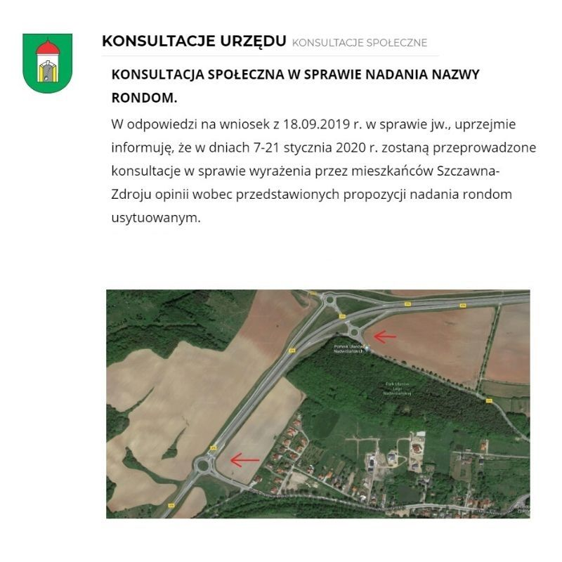 REGION, Szczawno-Zdrój: Nazwy dla rond
